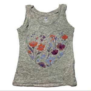Old navy heart flower tank top gray 2t